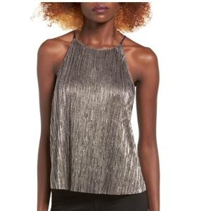 High neck metallic tank top by Lush from Nordstrom